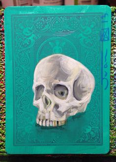 SKULL... Original painting on a playing cards. 2013