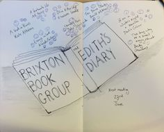 We had a long discussion session of group therapy about Edith's diary, daydreaming and being stuck in domestic hell. Cheerful book for next time is The Bone Clocks by David Mitchell cheerful runners up. David Mitchell, S Diary, Brixton, Daydream, Clocks, Therapy, Doodles, Cards Against Humanity, God