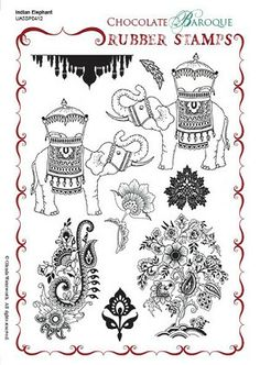 Indian Elephant Unmounted Rubber stamp sheet - A5 - Chocolate Baroque