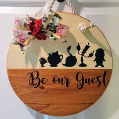 Welcome Signs Front Door, Front Door Decor, Be Our Guest Sign, Wood Wreath, Wooden Signs, Wooden Plaques, Halloween Door, Wood Cutouts, Disney Diy