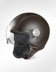 Piquadro Open Face Dark Brown Leather Helmet w/Visor | FORZIERI
