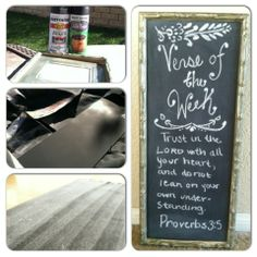 Life, among other things.: Day 13: DIY Verse of the Week Chalkboard