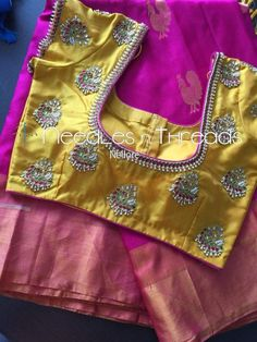 Wedding Saree Blouse Designs, Pattu Saree Blouse Designs, Blouse Designs Silk, Designer Blouse Patterns, Simple Blouse Designs, Stylish Blouse Design, Mirror Work Blouse, Maggam Work Designs, Blouse Models
