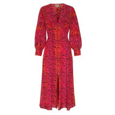 Primrose Park London's Edi dress in a pink and black abstract tiger print has a midi silhouette and a V neckline, with long, blouson sleeves and a Tiger Print, Zebra Print, Black Abstract, Perfect Wardrobe, Dresses Online, Wrap Dress, High Neck Dress, Silk, How To Wear
