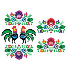 Folk Embroidery Patterns Polish Ethnic Floral Embroidery With Roosters - Traditional Folk Pattern Stock Vector Illustration 139389353 : Shutterstock - Polish Embroidery, Folk Embroidery, Learn Embroidery, Vintage Embroidery, Floral Embroidery, Embroidery Stitches, Machine Embroidery, Ribbon Embroidery, Embroidery Designs