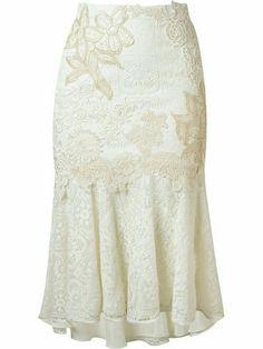 Shop online white Martha Medeiros embroidered lace mix midi skirt as well as new season, new arrivals daily. White Lace Skirt, White Skirts, White Silk, White White, Skirt Outfits, Dress Skirt, Modest Fashion, Fashion Dresses, Mode Wax