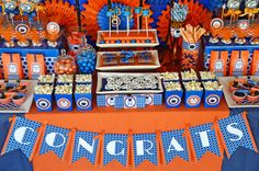high school graduation decorations diy | Guests took home Jordan Almonds wrapped in orange tulle circles. The ...