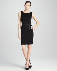 Ribbon-Trimmed Sheath Dress by Three Dots. Holiday perfect. Made in the USA.