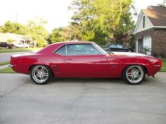 69 camaro red protouring billet specialties draft wheels polished satin finish split 5 star