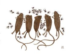 Curious Nature III field mice and flies original by GollyBard  love!