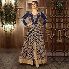 Blue - Beige Front Slit Anarkali Suit