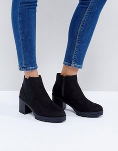 NEW LOOK CHUNKY TRACK SOLE HEELED ANKLE BOOT - BLACK. #newlook #shoes #