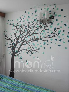 Vinilos decorativos rboles infantiles sticker decorativo rama colores flores p jaros - Decoracion paredes vinilos adhesivos ...