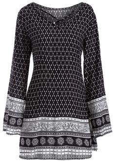 $17.83 Long Sleeve Strappy Print Dress - Black