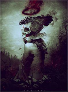 More macabre art. Dark Fantasy Art, Fantasy Kunst, Dark Gothic, Gothic Art, Illustration Arte, Illustrations, Dark Artwork, Macabre Art, Dark Beauty