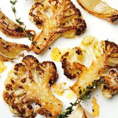Veggies: Parmesan-Roasted Cauliflower.
