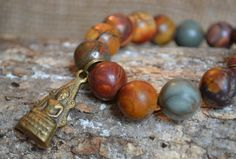 Buddha Matte Red Creek Jasper Gemstone Bracelet / Buddhist / Natural / on Etsy, $50.00