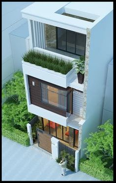 put pocket garden on the balcony 3 Storey House Design, House Front Design, Modern House Design, Facade Design, Exterior Design, Architecture Design, Architecture Interiors, Building Elevation, House Elevation