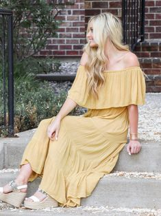 Elan Tiered Ruffle Mustard Strapless Maxi Dress – Leela and Lavender Off The Shoulder, Shoulder Dress, Strapless Maxi, Your Photos, Ruffles, Spring Fashion, What To Wear, Rompers, Stylists
