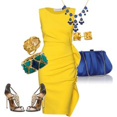 Yellow and Blue, created by kjjames.polyvore.com