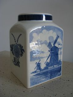 DELFT BLUE ♥ HANDPAINTED HOLLAND ~ VINTAGE JAR VASE SIGNED ~ WINDMILL BOATS