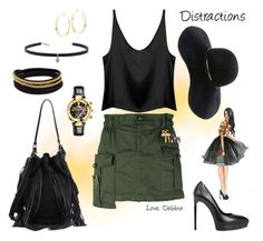 """Distractions"" by debbie-michailides ❤ liked on Polyvore featuring Dsquared2, Loeffler Randall, Yves Saint Laurent, Eugenia Kim, Carbon & Hyde, Vita Fede, Lana and Versace"