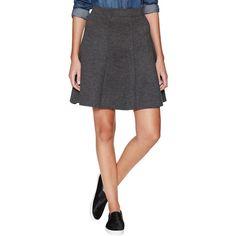 Three Dots Mini Trumpet Skirt featuring polyvore, fashion, clothing, skirts, mini skirts, dark grey, panel skirt, evening skirts, knit skirt, holiday skirts and flared skirt