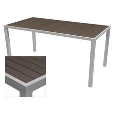 "Source Contract Nevada Bar Table Table Size: 32"" L x 48"" W, Top Finish: Espresso, Base Finish: Silver"