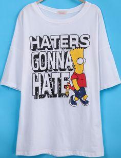 White Short Sleeve Simpson Letters Print T-Shirt - Sheinside.com