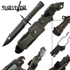 Prepper Survival's booth »  		SURVIVOR Survival Knife Bayonet Doomsday Preppers Bunkers Camping Hunting