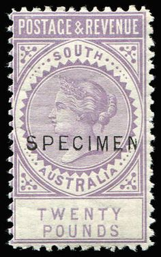 AUSTRALIAN COLONIES - SOUTH AUSTRALIA 1886-96 'POSTAGE & REVENUE' complete 18½mm 'SPECIMEN' set of 13, all wmk sideways except the £3 which is wmk upright, mainly part og. The £3 & £5 are P11½-12½, the balance are P10. A very rare complete set. The top 5 values are rated R3 by Walker. A similar set sold for $4,400 in a recent Sydney auction.  Anbieter Phoenix Auctions  Saalauktion Ausruf: 3600.00 AUD