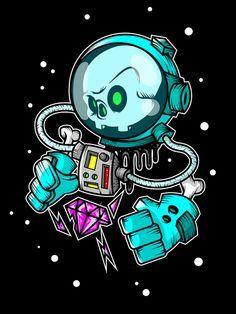 #cráneo de astronauta en el espacio