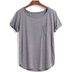 SheIn(sheinside) Grey Short Sleeve Pocket Loose Blouse featuring polyvore, fashion, clothing, tops, shirts, t shirt, tees, grey, short sleeve tops, cotton shirts, loose fit tops, short sleeve shirts and loose tops