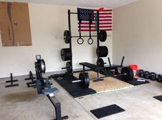 Sweet garage gym - dude has a ton of plates #ryourogue #garagegym