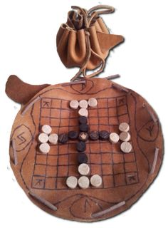 """""""Hnefatafl"""" board doubles as a bag to carry the game pieces."""