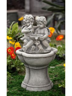 Outdoor Yard Lawn Garden Bird Bath Water Fountain Little