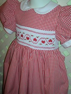 Hand Smocked Dress Hearts on Red Gingham