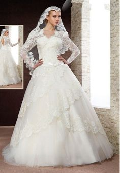 Discount Long Sleeves Ball Gown Arabic Bridal Wedding Dress From Trustful Online Seller Easebuydress