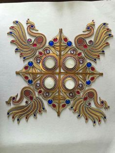Wall decor with mirrors instead of candles Diwali Craft, Diwali Diy, Diwali Rangoli, Diwali Decorations, Festival Decorations, Diy Home Crafts, Crafts To Make, Hobbies And Crafts, Arts And Crafts