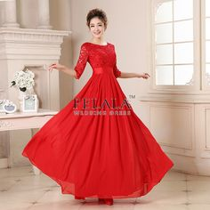 Summer Girls Affordable Puffy Simple Nice Red A Line/Princess Floor Length Scoop Neck Long Chiffon Prom Dresses/Homecoming Dresses/Graduation Dresses/Evening Dresses With Sleeves Lace Sash