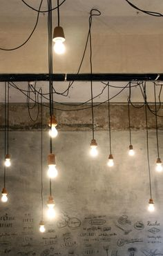 Industrial decor style is perfect for any interior. An industrial dinning room is always a good idea. Industrial Style Lighting, Industrial Cafe, Industrial Living, Industrial Interiors, Interior Lighting, Lighting Design, Industrial Stairs, Industrial Closet, Industrial Windows