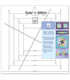 Create twisty pinwheel quilts, borders and blocks. Begin by piecing squares and borders. Place ruler on seams, cut in slots, twist ruler and cut again.  Cut five different size blocks from 3 to 10 fin