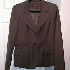 Brownish Grayish Blazer Really hard to tell the color, like a light brown/gray mix-  can't remember ever wearing it- like new- 2 buttons, 3 pickets on front Merona Jackets & Coats Blazers