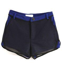 Navy Contrast Hem Net Layer Shorts - Sheinside.com