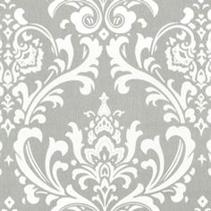 Light Gray White Damask Home Decorating Fabric - Premier Prints