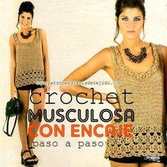 patrones de musculosa tejida a crochet en español
