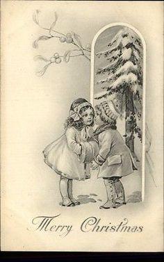 Christmas Little Boy and Girl Winter Scene c1910 Postcard | eBay