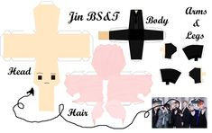 3d Paper Crafts, Paper Toys, Diy And Crafts, Army Crafts, Paper Fire, Paper Doll Template, Kpop Diy, Bts Chibi, Kpop Fanart