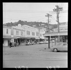 Kilbirnie shopping area, corner of Bay and Rongotai Roads, Wellington Old Pictures, Old Photos, Wellington New Zealand, The Hutt, Kiwiana, British Isles, Abandoned Places, Homeland