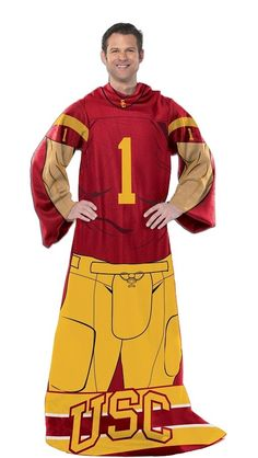 USC Trojans Players Fleece Blanket with Sleeves
